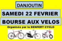 La Denfert Cyclo organise sa Bourse aux Vélos et aux Equipements à DANJOUTIN Le Samedi 22 février 2020 Cliquez sur l'image pour tout savoir sur la Bourse aux Vélos 2020